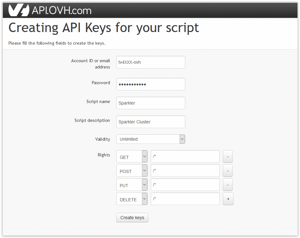 create keys for OVH API