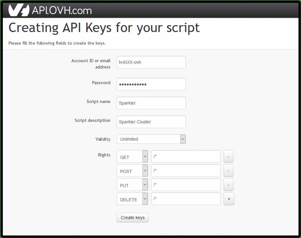 create keys for OVH API